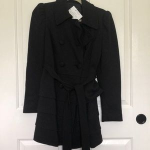 NWT INC trench coat black SZ M